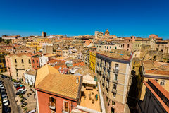 Roofs of Cagliari in Sardegna. Cagliari - capital of Sardinia. Sardegna wide angle view. Roofs and houses of biggest city in Sardinia island - Cagliari, Italy stock photography