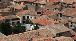 Roofs of Carcassonne. Image of the roofs of houses in the base city of Carcassonne in Aude department of France, seen form the walled city Stock Photography