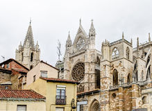 Roofs and Cathedral - Leon, Spain Royalty Free Stock Image