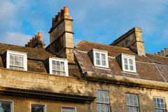 Roofs and chimneys. Roofs, chimneys and windows of the Georgian city Bath, Britain royalty free stock photo