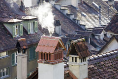 Roofs and chimneys of Bern Royalty Free Stock Image