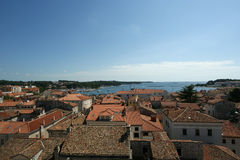 Roofs of the city on a sunny summer day, Porec, Croatia Royalty Free Stock Image