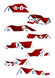 Roofs Collection. Collection consisting of eight red roofs, can be used in real estate design Royalty Free Stock Photos