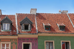 Roofs of colorful buildings on Old Market in Poznan, Poland Stock Photo