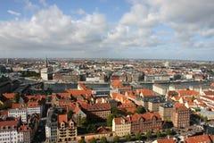 Roofs of Copenhagen, Denmark. Copenhagen view from height of the bird's flight, Denmark Royalty Free Stock Photos