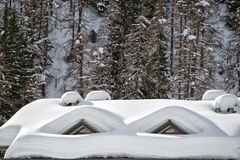 Roofs covered by snow Stock Photo