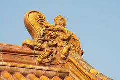 Roofs decoration in the Forbidden City. (Beijing Royalty Free Stock Photo