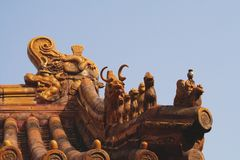 Roofs decoration in the Forbidden City. (Beijing Royalty Free Stock Image