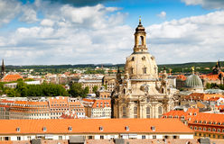 Roofs of Dresden and Frauenkirche. Aerial view on roofs of Old Dresden and Frauenkirche Royalty Free Stock Photo