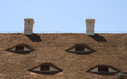 Roofs eyes. Specific architectural detail from an old german medieval city.The place is located in Sibiu(Hermanstadt),Romania,a city which is during 2007 the Royalty Free Stock Images