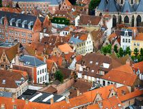 Roofs and Facades of Flemish Houses Stock Photos