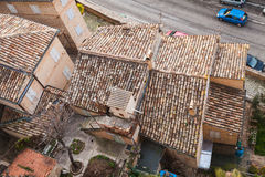 Roofs of Fermo, Italy. Old stone living houses Royalty Free Stock Photography