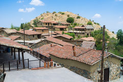 The roofs of Fikardou Stock Photos