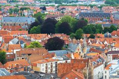 Roofs of Flemish Houses in Brugge Stock Photography