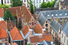 Roofs of Flemish Houses in Brugge Stock Images