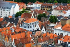 Roofs of Flemish Houses in Brugge Royalty Free Stock Photography