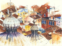 Roofs Florence dome architecture building Italy landmarks watercolor painting illustration Royalty Free Stock Images