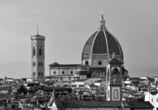 The roofs of Florence and the dome of Brunelleschi`s Cathedral. stock photo