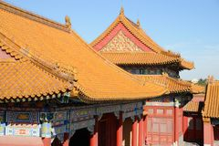 Roofs of Forbiden City. Ancient architecture of the palaces complex in the Forbiden City, Beijing, China Royalty Free Stock Image