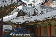 Roofs of the Gyeongbokgung palace buildings, Seoul, Korea. Royalty Free Stock Images