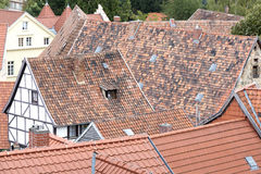 Roofs of half-timbered houses Stock Images