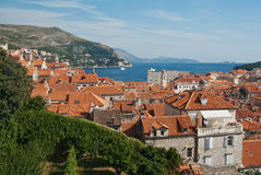 Roofs and harbor of Dubrovnik, Croatia Royalty Free Stock Photos