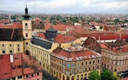 Roofs of historical centre of Sibiu city, Romania Royalty Free Stock Photos