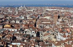 Roofs of houses and buildings in the VENICE City in Italy Stock Photos