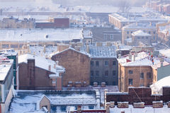 Roofs of houses in the center of St. Petersburg Stock Images