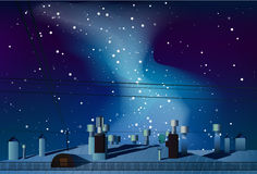 Roofs of houses with chimneys under the night sky with the Milky Stock Photography