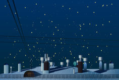 Roofs of houses with chimneys under the night sky vector. Stock Image