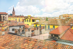 Roofs of houses in the city of Verona, Italy Stock Image