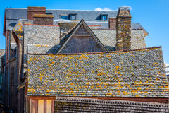 Roofs and houses from the village under the monastry on the Moun Royalty Free Stock Photography