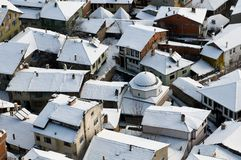 Roofs of Kastamonu in Winter Stock Images