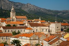 Roofs in Korcula Stock Photo