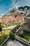 Roofs of Kotor from mountain stock photography