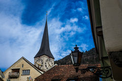 Roofs and lamps in the center of Chur Royalty Free Stock Images