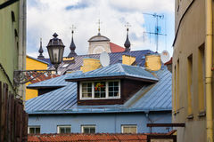 Roofs and lanterns of old city of Vilnius Royalty Free Stock Photo