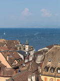 Roofs and Leman lake Royalty Free Stock Images