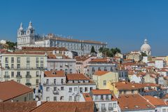 Roofs in Lisbon. Panoramic shot of Rooftin the oldest district Alfama in Lisbon. Lissabon stock image