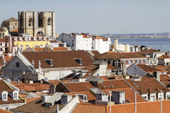 Roofs of Lisbon and Se Cathedral Stock Image