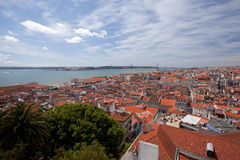 Roofs of Lisbon, Tagus river, bridge and Christ St Stock Photo