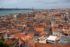 Roofs of Lisbon, Tagus river, bridge and Christ St stock photos