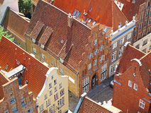 Roofs of Luebeck. A narrow street in the Hanseatic city of Luebeck seen from above. The old inner city of Luebeck is listed as UNESCO world heritage Royalty Free Stock Photography
