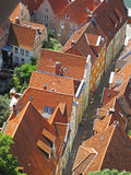 Roofs of Luebeck. A narrow street in the Hanseatic city of Luebeck seen from above. The old inner city of Luebeck is listed as UNESCO world heritage Royalty Free Stock Photos