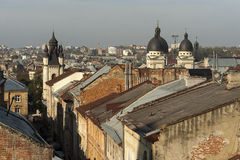 Roofs of Lviv. Armenian street Royalty Free Stock Photography