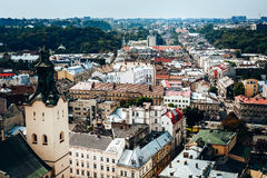 A view from above on the historical center of Lviv. The roofs of the old city..Roofs of Lviv, Ukraine Royalty Free Stock Photo