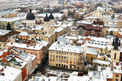 Roofs of Lvov from the tower, Ukraine Royalty Free Stock Image