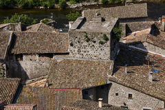The roofs of the medieval town of Mirabel Stock Images