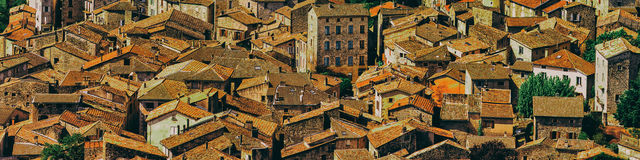Roofs of a medieval village in the South of France. Panorama of a medieval village as seen from above in the South of France Stock Photo
